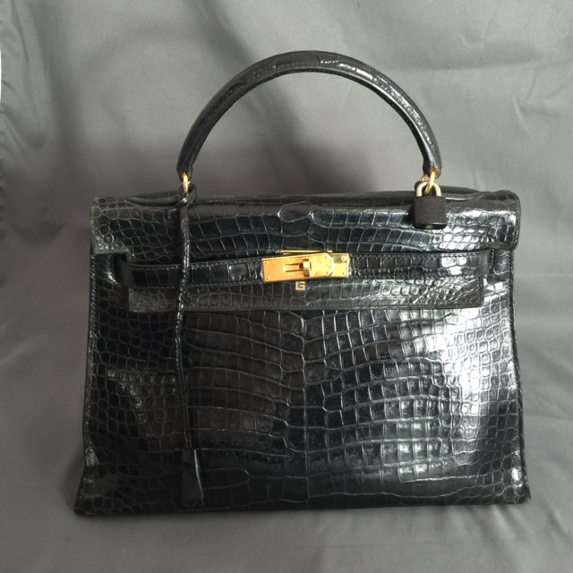 KELLY 32 CROCODILE NOIR